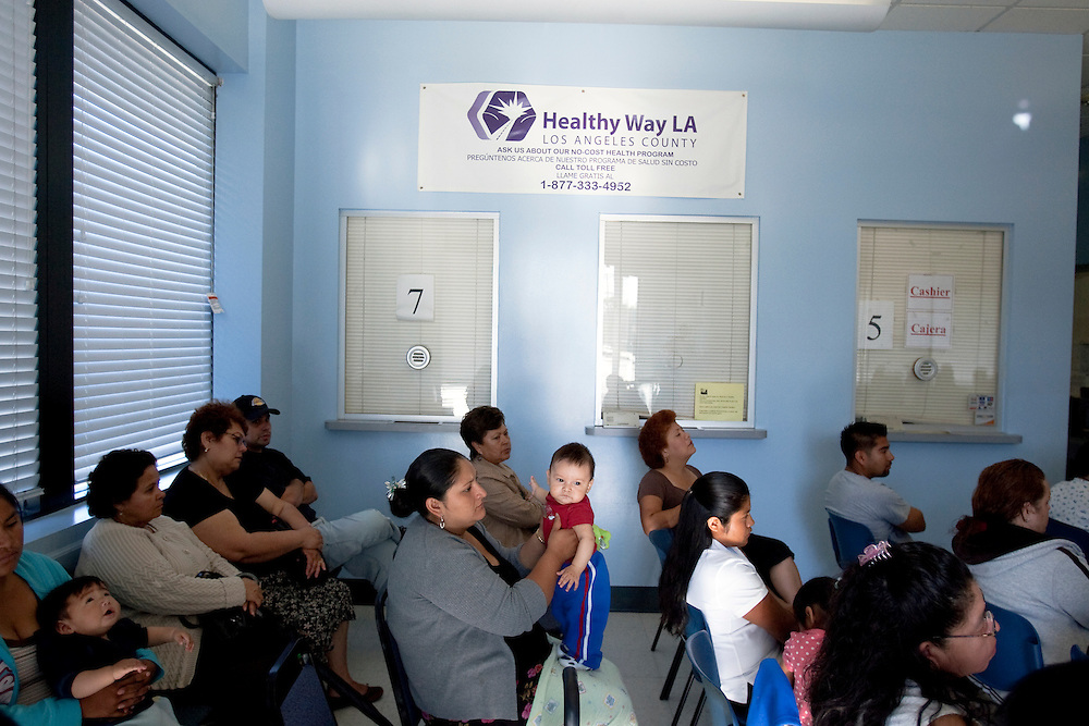 The crowded waiting room at the South Central Family Health Center in Los Angeles, CA as patients wait for medical care. Please contact Todd Bigelow directly with your licensing requests.
