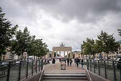 16 September 2021, Berlin, Germany: U-bahn (underground) station at the historical site of Unter den Linden and Brandenburger Tor in Berlin.