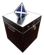 """Black Ballot Box with Scottish Flag as """"X"""" Voting Slip. Cut out on white background."""