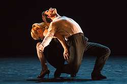 """© Licensed to London News Pictures. 09/06/2015. London, UK. Pictured: Maricel Giacomini and Sebastian Acosta performing. Sidi Larbi Cherkaoui's contemporary tango production """"Milonga"""" returns to Sadler's Wells from 9 to 13 June 2015. Photo credit : Bettina Strenske/LNP"""
