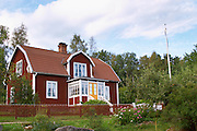 The house that Emil lived in. The flag pole that Emil hoisted his siter Lina up in. The original location where Astrid Lindgren's story of Emil in Lonneberga (Emil get's into mischief') was filmed. Katthult Smaland region. Sweden, Europe.