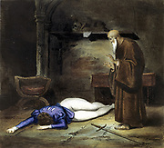 Achille Deveria (1800-1857) and Louis Boulanger (1806-1867) The Death of Romeo. Illustration for William Shakespeare's tragedy 'Romeo and Juliet' showing Friar Lawrence finding Romeo's body.  Play first performed c1595. Private collection