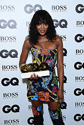 Naomi Campbell in the press room with the Fashion Icon Award at the GQ Men of the Year Awards 2018 in Association with Hugo Boss held at The Tate Modern in London.