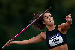 Ilhem Tamrouti in action on the javelin throw section during the Dutch Athletics Championships (NK) on the athletics track Maarschalkerweerd on 30 August 2020 in Utrecht.