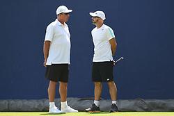 June 20, 2017 - London, United Kingdom - Former ATP World No.1 Ivan Lendl and Jamie Delgado are pictured on the lawn of AEGON Championships The Queen's Club, London on June 20, 2017. (Credit Image: © Alberto Pezzali/NurPhoto via ZUMA Press)