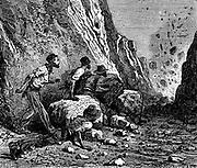 Miners using dynamite for blasting. Wood engraving, Paris, 1879.