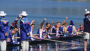 Sydney, AUSTRALIA, GBR M8+ moving onto medal pontoon, after winning the gold medal in the men's eights, at the 2000 Olympic Regatta, Penrith Lakes. [Photo Peter Spurrier/Intersport Images]  [left to right] LINDSAY, Andrew, HUNT-DAVIS, Ben, DENNIS, Simon, ATTRILL, Louis, GRUBOR, Luka, WEST, Kieran<br /> SCARLETT, Fred, TRAPMORE Steve and cox DOUGLAS, Rowley 2000 Olympic Rowing Regatta00085138.tif