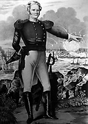 Major-General Winfield Scott (1786-1866) American soldier. During the Mexican-American War 1846-1848 Scott commanded the southern of America's two armies.  Scott pictured at the Battle of Veracruz, 20 day siege of the city 9-29 March 1847, pointing to the warships in the harbour.  American forces took the city and marched on to Mexico City.  Thius was the first large-scale amphibious assault by the nited States forces. Lithograph.