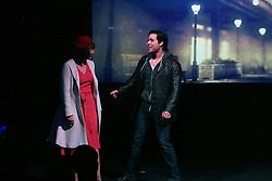 19.02.2015, Palladium Theater, Stuttgart, GER, Musical Rocky, Pressekonferenz, im Bild Wietske van Tongeren (Adrian Darstellerin in Rocky), Nkolas Heiber (Rocky Darsteller) bei einem Kurzauftritt // during a press conference of the musical Rocky at Palladium Theater in Stuttgart, Germany on 2015/02/19. EXPA Pictures © 2015, PhotoCredit: EXPA/ Eibner-Pressefoto/ Hofer<br /> <br /> *****ATTENTION - OUT of GER*****