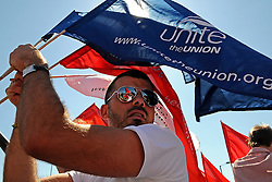 24/05/2010 Members of Unite and British Airways cabin crew on the picket line and on the 'strike battle bus' at Hatton Cross, Heathrow Airport on the first day of industrial action in the continuing dispute with BA management.