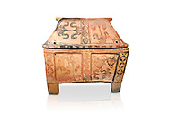 Minoan  pottery gabled larnax coffin chest with bird and papyrus decorations,   1300-1200 BC, Heraklion Archaeological  Museum, white background. .<br /> <br /> If you prefer to buy from our ALAMY PHOTO LIBRARY  Collection visit : https://www.alamy.com/portfolio/paul-williams-funkystock/minoan-art-artefacts.html . Type -   Heraklion   - into the LOWER SEARCH WITHIN GALLERY box. Refine search by adding background colour, place, museum etc<br /> <br /> Visit our MINOAN ART PHOTO COLLECTIONS for more photos to download  as wall art prints https://funkystock.photoshelter.com/gallery-collection/Ancient-Minoans-Art-Artefacts-Antiquities-Historic-Places-Pictures-Images-of/C0000ricT2SU_M9w