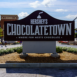 Hershey, PA, USA - September 4, 2020: The Hershey's Chosoactetown sign located at the entrance of Hersheypark.