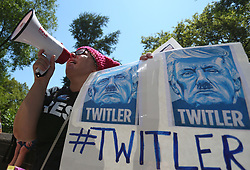 July 1, 2017 - New York City, New York, USA - A protester calls for the impeachment of President Donald Trump during the rally in New York City on July 2, 2017 in New York. (Credit Image: © Anna Sergeeva via ZUMA Wire)