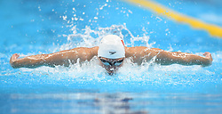 August 24, 2018 - Jakarta, Indonesia - Li Zhuhao of China competes during men's 4x100m medley relay final of swimming at the 18th Asian Games in Jakarta, Indonesia. China won the gold medal. (Credit Image: © Pan Yulong/Xinhua via ZUMA Wire)