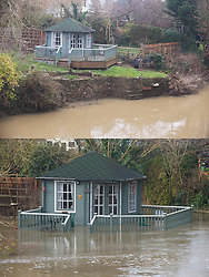 ©Licensed to London News Pictures 28/12/2019. <br /> Yalding ,UK. Comparison image of garden summer  house today (28.12.2019) and from a week ago (21.12.2019).  Flood waters from the River Medway and River Beult in Yalding, Kent are Receding.  Photo credit: Grant Falvey/LNP