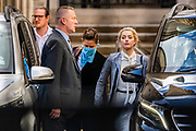 Actress Amber Heard arrives at the High Court in London on Tuesday, July 21, 2020. She will attend a hearing in Johnny Depp's libel case against the publishers of The Sun and its executive editor, Dan Wootton. <br />