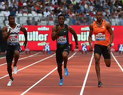 July 21, 2018 - London, United Kingdom - L-R Yohan Blake of Jamaica Isiah Young of USA Zharnel Hughes of Great Britain and Northern Ireland compete in the 100m Men Heat A.during the Muller Anniversary Games IAAF Diamond League Day One at The London Stadium on July 21, 2018 in London, England. (Credit Image: © Action Foto Sport/NurPhoto via ZUMA Press)