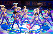 Los Angeles Lakers girls cheerleaders dance during the NBA All-Star Game on Sunday, Feb. 15, 2004 in Los Angeles.