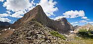 Panoramic view of Triple Divide Pass in Glacier National Park, Montana, USA
