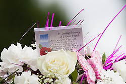 © Licensed to London News Pictures . 09/08/2013 . Salford , UK . Flowers and tributes . The funeral of Linzi Ashton at St Paul's C of E Church in Salford , today (9th August 2013) . Linzi Ashton (25) was found murdered in her home on Westbourne Road in Salford on 29th June . Michael Cope is standing trial, accused of murdering, raping and assaulting her . Photo credit : Joel Goodman/LNP