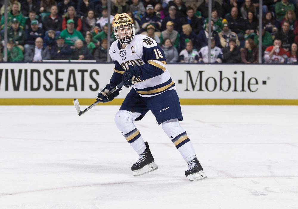 March 17, 2018:  Notre Dame forward Jake Evans (18) during NCAA Hockey game action between the Notre Dame Fighting Irish and the Ohio State Buckeyes at Compton Family Ice Arena in South Bend, Indiana.  Notre Dame defeated Ohio State 3-2 in overtime.  John Mersits/CSM