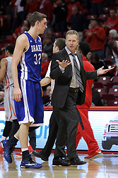 07 January 2015:   Kory Kuenstling and Ray Giacoletti have a discussion as they walk off the floor at halftime during an NCAA MVC (Missouri Valley Conference) men's basketball game between the Drake Bulldogs and the Illinois State Redbirds at Redbird Arena in Normal Illinois.  Illinois State comes out victorious 81-45.