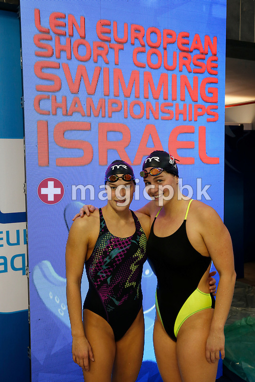 Sibylle GRAENICHER (L) and Lisa STAMM of Switzerland pose for a photo during a training session 1 day prior to start of the 18th LEN European Short Course Swimming Championships held at the Wingate Institute in Netanya, Israel, Tuesday, Dec. 1, 2015. (Photo by Patrick B. Kraemer / MAGICPBK)