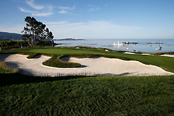 June 11, 2019 - Pebble Beach, CA, U.S. - PEBBLE BEACH, CA - JUNE 11:  A general scenic view of the 4th hole seen during a practice round for the 2019 US Open on June 11, 2019, at Pebble Beach Golf Links in Pebble Beach, CA. (Photo by Brian Spurlock/Icon Sportswire) (Credit Image: © Brian Spurlock/Icon SMI via ZUMA Press)