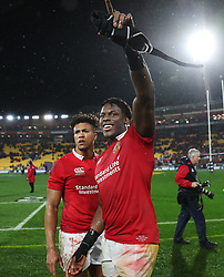 British and Irish Lions Maro Itoje and Anthony Watson celebrates after the second test of the 2017 British and Irish Lions tour at Westpac Stadium, Wellington.