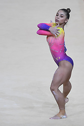 October 28, 2018 - Doha, Qatar - FLAVIA SARAIVA competes on the floor exercise during the second day of preliminary competition held at the Aspire Dome in Doha, Qatar. (Credit Image: © Amy Sanderson/ZUMA Wire)