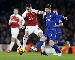 BRITAIN-LONDON-FOOTBALL-PREMIER LEAGUE-ARSENAL VS CHELSEA.(190120) -- LONDON, Jan. 20, 2019  Chelsea's Jorginho (R) is challenged by Arsenal' Granit Xhaka during the English Premier League match between Arsenal and Chelsea at the Emirates Stadium in London, Britain on Jan. 19, 2019. Arsenal won 2-0.  FOR EDITORIAL USE ONLY. NOT FOR SALE FOR MARKETING OR ADVERTISING CAMPAIGNS. NO USE WITH UNAUTHORIZED AUDIO, VIDEO, DATA, FIXTURE LISTS, CLUB/LEAGUE LOGOS OR ''LIVE'' SERVICES. ONLINE IN-MATCH USE LIMITED TO 45 IMAGES, NO VIDEO EMULATION. NO USE IN BETTING, GAMES OR SINGLE CLUB/LEAGUE/PLAYER PUBLICATIONS. (Credit Image: © Matthew Impey/Xinhua via ZUMA Wire)