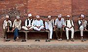 Men sitting on bench, Kathmandu, Nepal