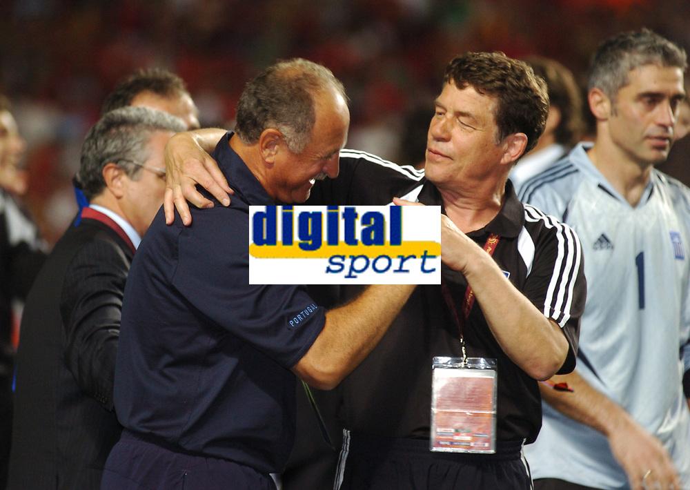 Luiz Felipe Scolari Head Coach<br />Portugal EURO 2004<br />congratulates Greece Manager Otto Rehagel<br />Portugal v Greece (0-1) 04/07/04 Final  <br />EURO 2004 PORTUGAL<br />Photo Robin Parker Fotosports International