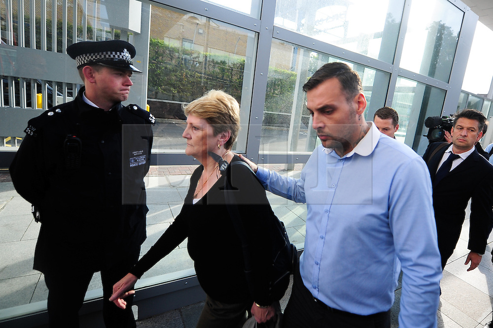 © Licensed to London News Pictures. 17/09/2012. London,UK.The family of Ian Thomlinson arrives at the Empress State Building.Police officer Simon Harwood was cleared of killing newspaper seller Ian Tomlinson during the G20 protests in London in 2009.Photo credit : Thomas Campean/LNP..