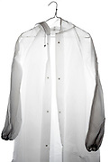 white translucent plastic raincoat