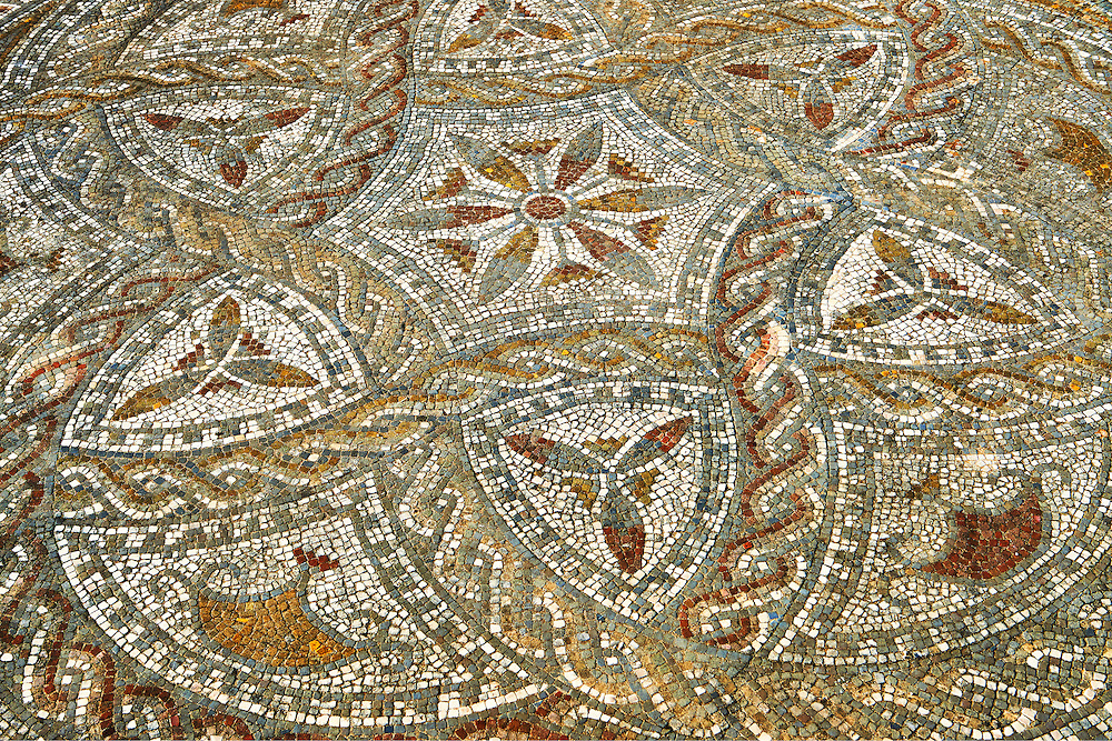 Geometric designed Roman floor mosaic. Volubilis Archaeological Site, near Meknes, Morocco .<br /> <br /> If you prefer to buy from our ALAMY PHOTO LIBRARY  Collection visit : https://www.alamy.com/portfolio/paul-williams-funkystock/roman-mosaic.html - Type -   Volubilis    - into the LOWER SEARCH WITHIN GALLERY box. Refine search by adding background colour, place, museum etc<br /> <br /> Visit our ROMAN MOSAIC PHOTO COLLECTIONS for more photos to download  as wall art prints https://funkystock.photoshelter.com/gallery-collection/Roman-Mosaics-Art-Pictures-Images/C0000LcfNel7FpLI