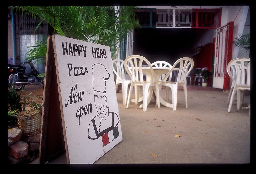 PHNOM PENH, CAMBODIA: Happy Herbs pizza parlor in Phnom Penh, Cambodia  Photo by David Paul Morris