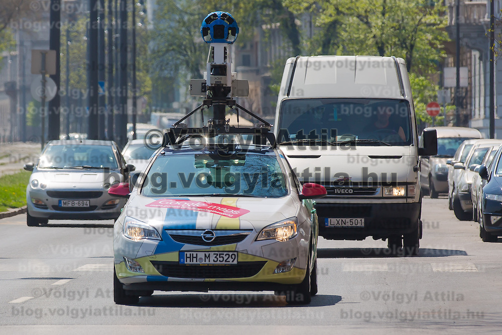 Special car recording photos for the Google Street View service is seen in traffic heading to a press conference on the Hungarian launch of Google Street View in Budapest, Hungary on April 23, 2013. ATTILA VOLGYI