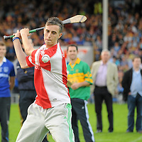 28 July 2010; Graham Glynn, from Eire Og GAA Club, Ennis, is pictured competing in the Bord Gáis Energy Crossbar Challenge at half-time in the Bord Gais Energy GAA Hurling Under 21 Munster Championship Final between Clare and Tipperary. Semple Stadium, Thurles, Co. Tipperary. Picture credit: Diarmuid Greene / SPORTSFILE *** NO REPRODUCTION FEE ***