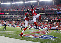 23 August 2014: Atlanta Falcons wide receiver Devin Hester (17) celebrates his touchdown with wide receiver Roddy White (84) in first half action of the Tennessee Titans at Atlanta Falcons game at the Georgia Dome in Atlanta Georgia. NFL American Football Herren USA AUG 23 Preseason - Titans at Falcons PUBLICATIONxINxGERxSUIxAUTxHUNxRUSxSWExNORxONLY Icon4881408230386<br /> <br /> 23 August 2014 Atlanta Falcons Wide Receiver Devin Hester 17 Celebrates His Touchdown with Wide Receiver Roddy White 84 in First Half Action of The Tennessee Titans AT Atlanta Falcons Game AT The Georgia Dome in Atlanta Georgia NFL American Football men USA Aug 23 Preseason Titans AT Falcons PUBLICATIONxINxGERxSUIxAUTxHUNxRUSxSWExNORxONLY Icon4881408230386