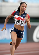 Aug 29, 2007; Osaka, JAPAN; Allyson Felix (USA) wins first-round heat of womens 200m in 22.50 in the 11th IAAF World Championships at Nagai Stadium.