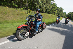 Carl Olsen riding his 1936 Harley-Davidson Knucklehead during Stage 5 of the Motorcycle Cannonball Cross-Country Endurance Run, which on this day ran from Clarksville, TN to Cape Girardeau, MO., USA. Tuesday, September 9, 2014.  Photography ©2014 Michael Lichter.