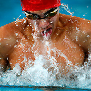 Sharyland's Marco Rivera swims the breast stroke leg of the 200-Yard Medley Relay during the District 32-5A Swimming Championship in the natatorium at the Pharr Aquatics Center.<br /> Nathan Lambrecht/The Monitor