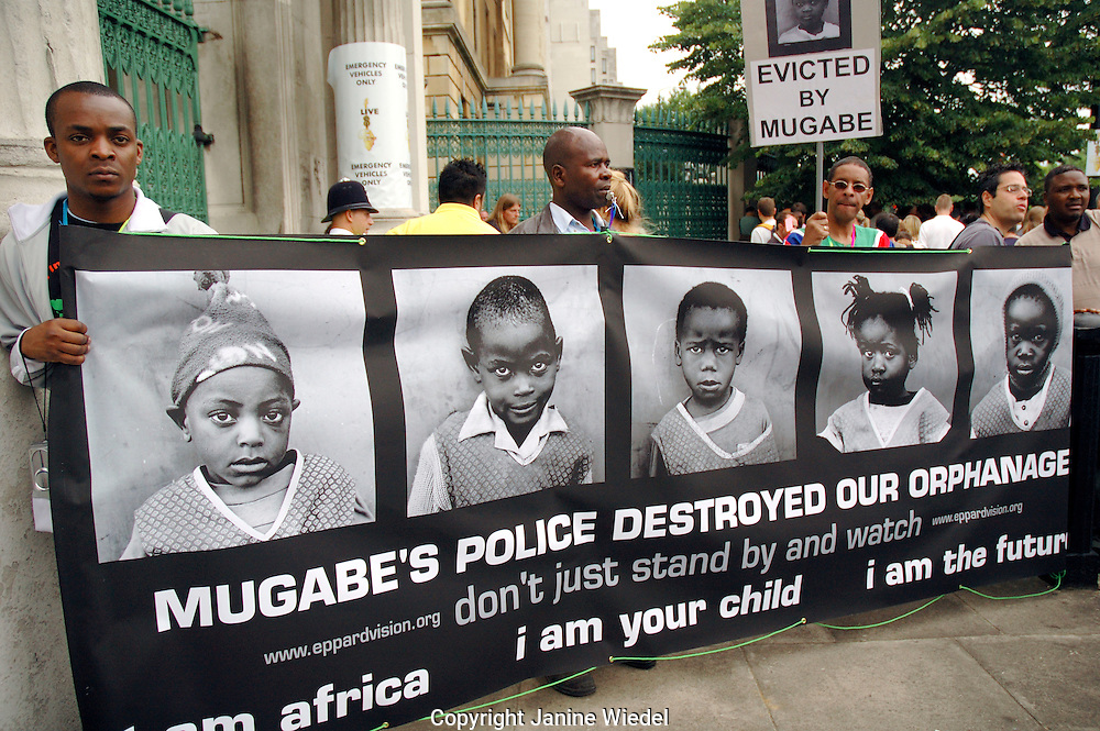 Protest in london against Mugabe's regime by people evicted recently.