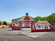 Travelling marionnette puppet theatre for children in the school summer holidays, 19th July 2014, Leucate, France