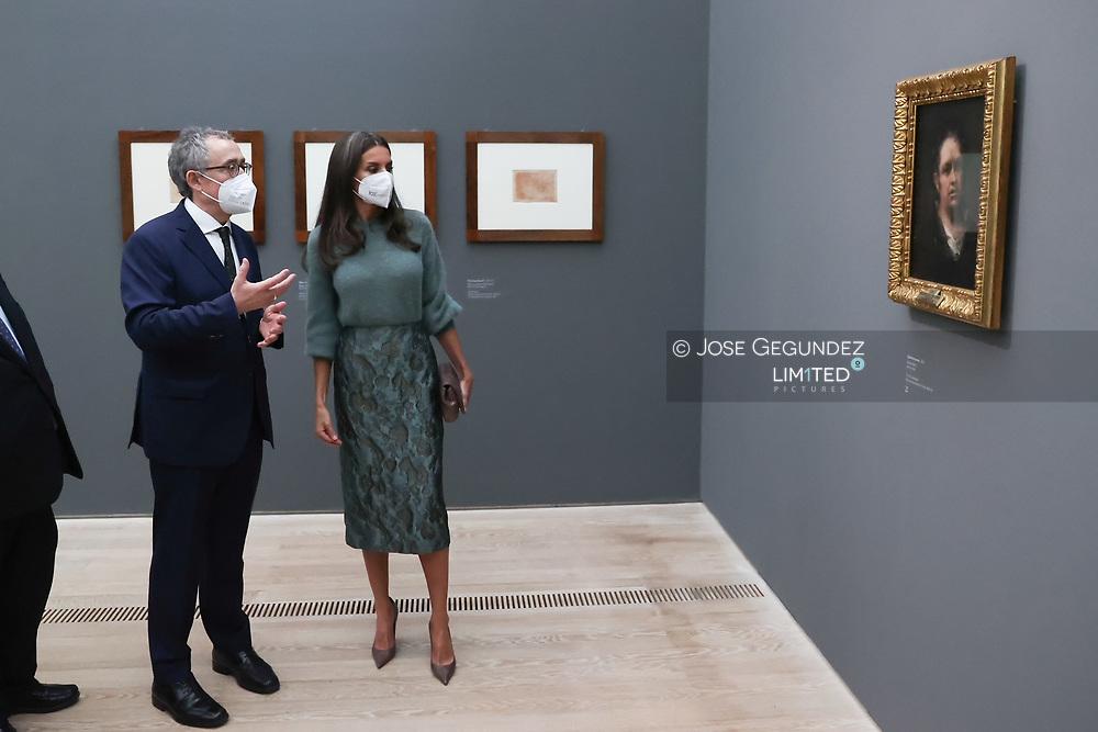 Queen Letizia of Spain attends 'Goya exhibition' at Beyeler Foundation on October 8, 2021 in Basilea, Switzerland