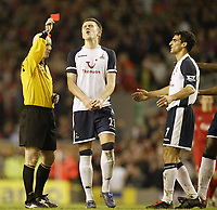 Photo: Aidan Ellis.<br /> Liverpool v Tottenham Hotspur. The Barclays Premiership.<br /> 14/01/2006.<br /> Spurs Michael Carrick cant believe it as team mate Paul Stalteri is sent off
