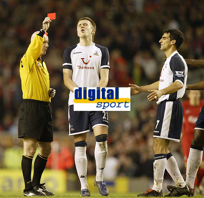 Photo: Aidan Ellis.<br /> Liverpool v Tottenham Hotspur. The Barclays Premiership.<br /> 14/01/2006.<br /> Spurs Michael Carrick cant believe it as team mate Paul Stalteri is sent off