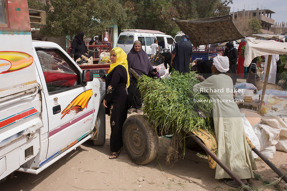 A local woman squeezes through the gap between a stallholder and a car at the weekly market at Qurna, a village on the West Bank of Luxor, Egypt.