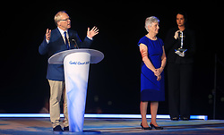 Chairman of the Gold Coast 2018 Commonwealth Games Corporation Peter Beattie and President of the Commonwealth Games Federation Louise Martin during the Closing Ceremony for the 2018 Commonwealth Games at the Carrara Stadium in the Gold Coast, Australia.